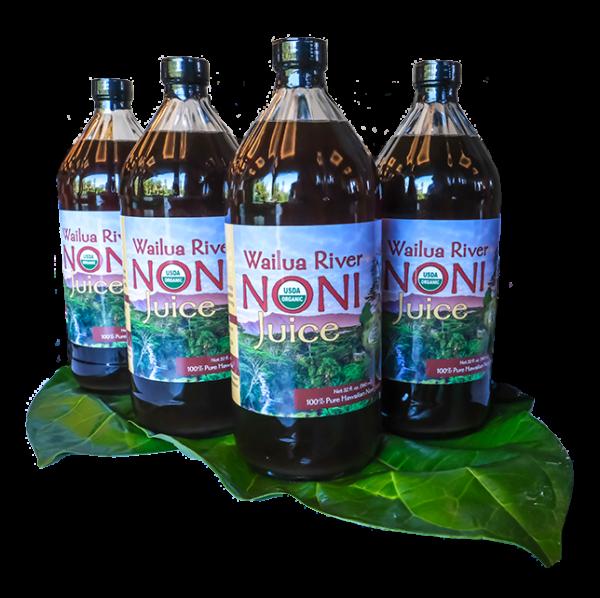 4 Quart bottles of Wailua River Noni Juice